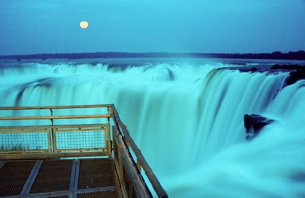 Iguazu falls full moon